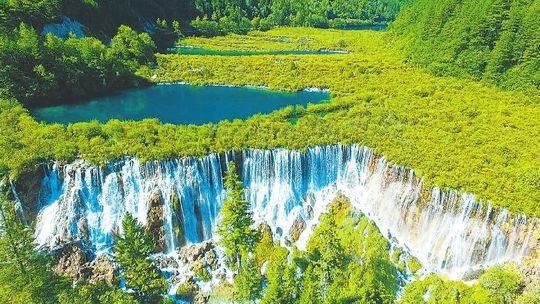 8月3日,九寨沟风景区诺日朗瀑布风采依旧.